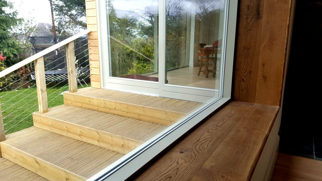 Non-slip decking outside an extension undertaken in Ravelston.