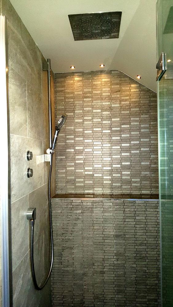 Bespoke shower design featuring 'Bauhaus' digital shower (Cameron Toll).