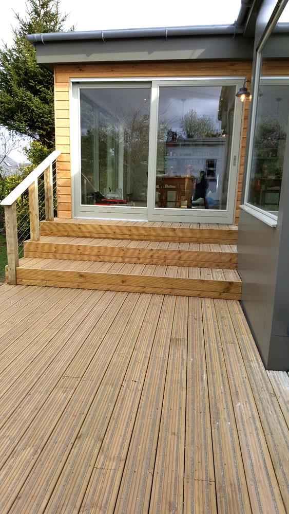 Non-slip deck and steps along with bespoke handrail in Edinburgh.