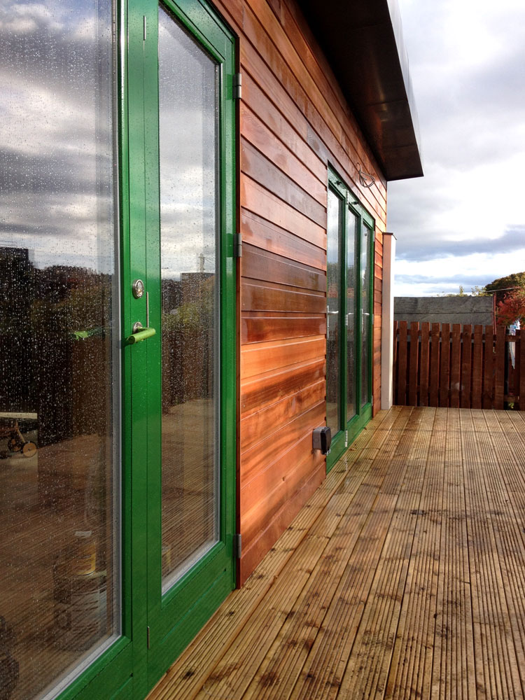 Another view of the cedar-clad extension in Buckstone.