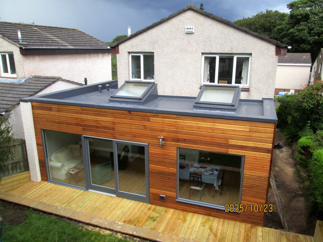Western Red Cedar extension with zinc roof above.