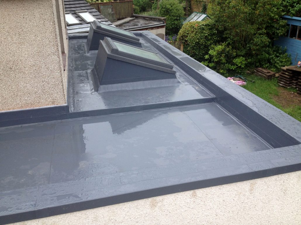 'Sarnafil' single ply membrane roof with Velux window in Buckstone, Edinburgh.