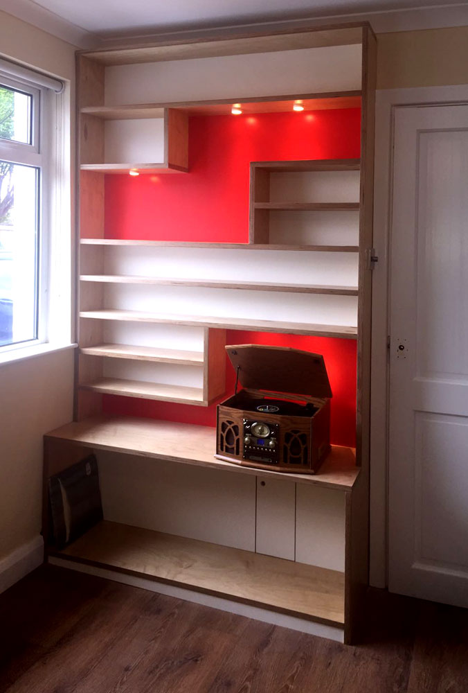 Bespoke book shelves in Cameron Toll.
