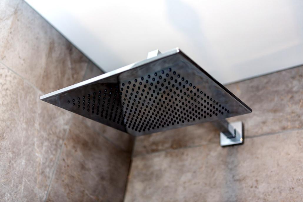 Bespoke shower design featuring 'rainfall' shower head (house in Craiglockhart).