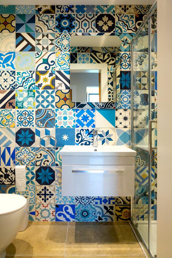 Bathroom featuring encaustic tiles by the Edinburgh tile studio